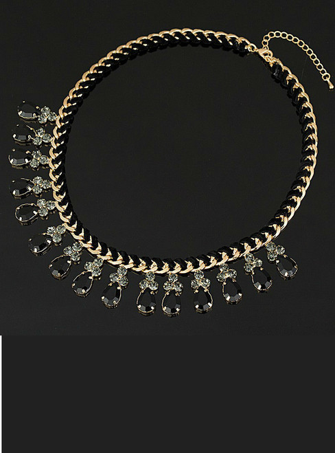 Rhinestones Crystal Beads Choker Luxury Chunky Necklace Statement Jewelry