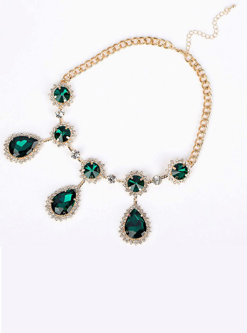 Vintage luxury royal Green pendant drop Crystal gem crystal necklace female