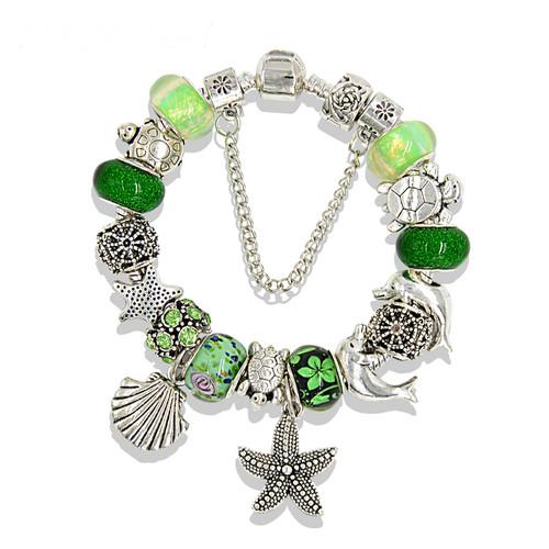 Ocean Style Tortoise Dolphin Charms Bracelets Green Murano Bead Bracelets
