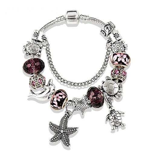 Women Charm Bracelets Fashion Purple Crystal Glass Bracelets & Bangles