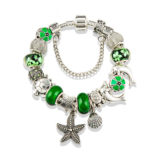 Ocean Charms fit Pan Bracelet & Bangles Green Murano Beads