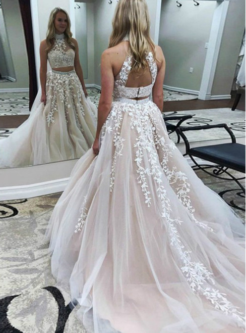 Champagne High Neck Two Piece Tulle Appliques Backless Prom Dress