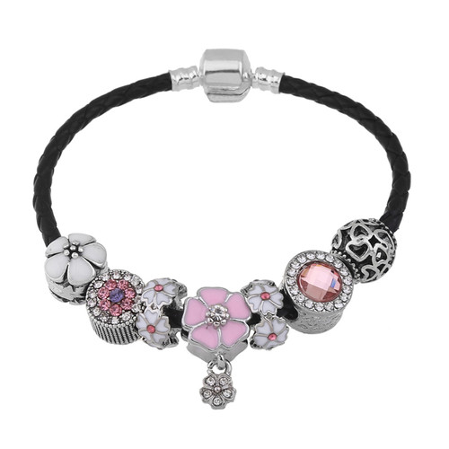 Black Genuine Leather Charm Women Bracelets & Bangles Flower Beads