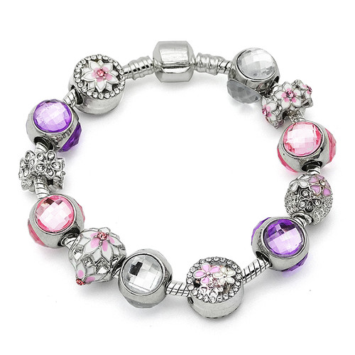 Pink Magnolia Bloom Beads Silver Charm Bracelets Fit European