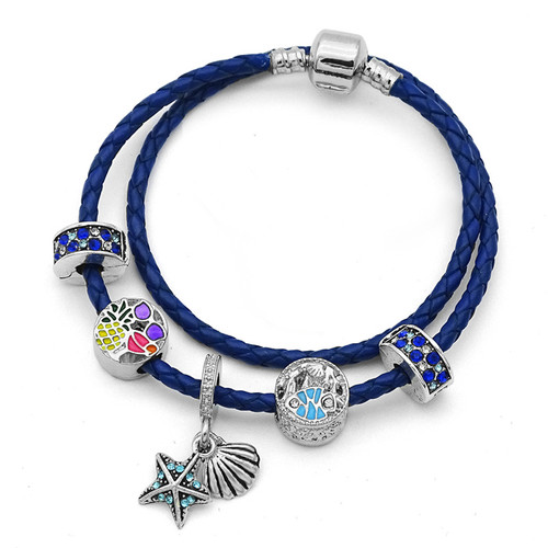 Blue Crystal Clip Beads Vintage Starfish Beads Charm Bracelets For Women