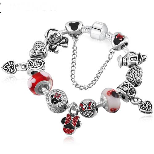 Red Pendant Crystal Beads 925 Sliver Plated Children lovely Bracelets & Bangles