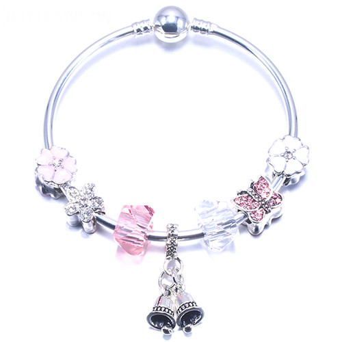 Charm charm Bracelets Silver Plating Beads Pink Crystal Bells pendant Fit Mother's Day Gift