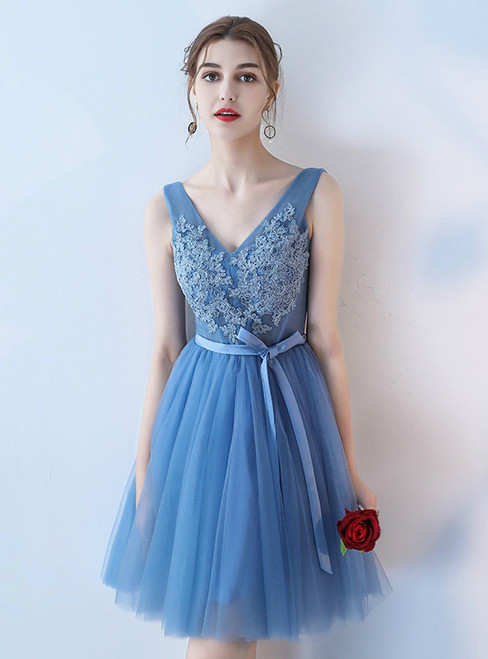 Blue A-line V-neck Applique Tulle Short Prom Dress Homecoming Dress