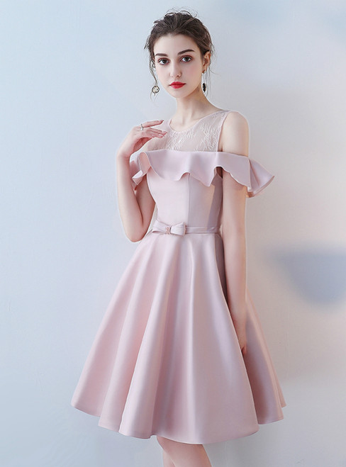 Off-the-shoulder Lace Satin Short Prom Dress Homecoming Dress