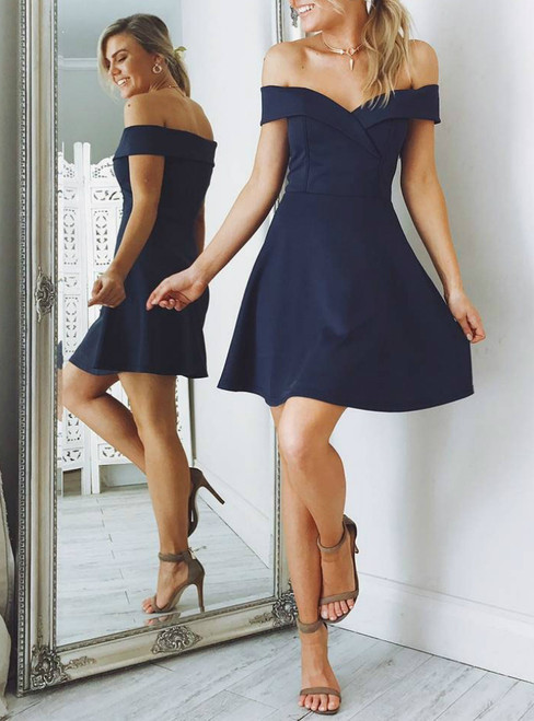 Navy Blue Simple Prom Dresses A Line Homecoming Dresses