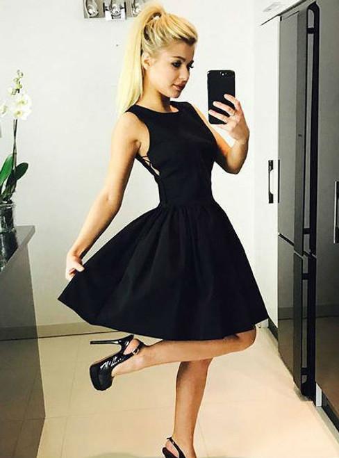 Black Criss Cross Prom Dress Satin Homecoming Dress