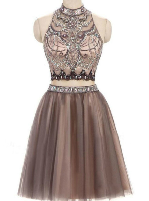 Two Piece Prom Dress Junior Tulle Open Back Homecoming Dresses