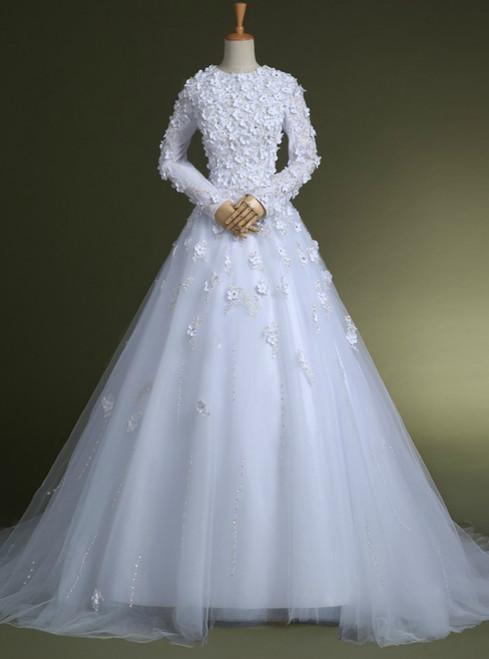 White Wedding gowns floor length bridal gown wedding bride dresses
