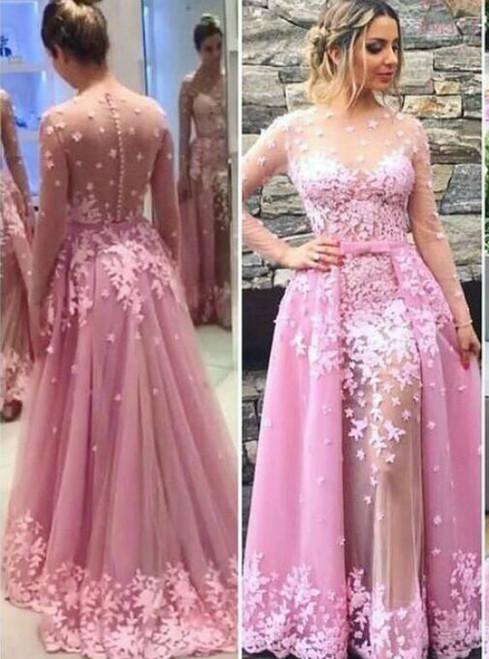 Detachable Skirt Prom Dress Long,Long Sleeves Prom Dress