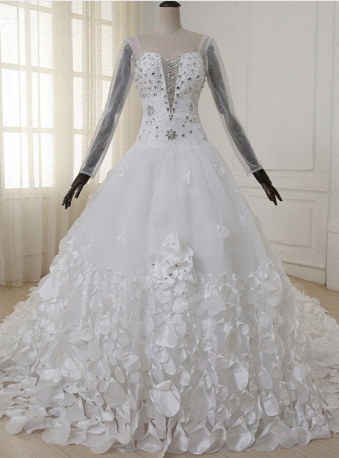 Flower Crystal Petals Train Long Leeves Backless Wedding Dress