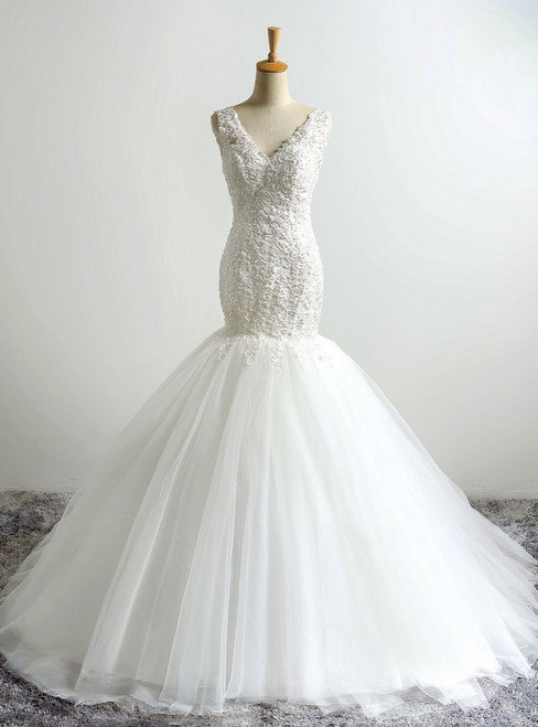 V-Neck Lace Applique Mermaid Wedding Dress with Open Back