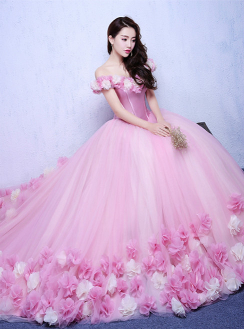 Pink Off the Shoulder Court train Bridal Wedding Dress with Flowers