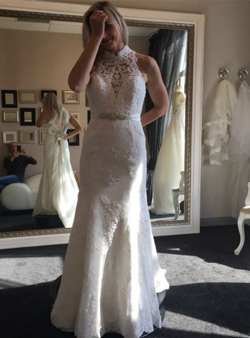 Sexy High Neckline Mermaid Lace Wedding Dresses