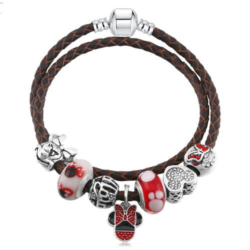 Double Woven Leather Charm pan Bracelet With Mickey Crystal bead and Dangle Jewelry