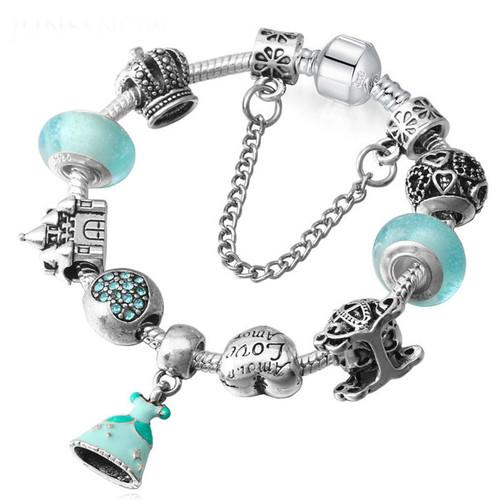 Crystal Beads Princess dress charm Bracelets Bangles Silver Plated
