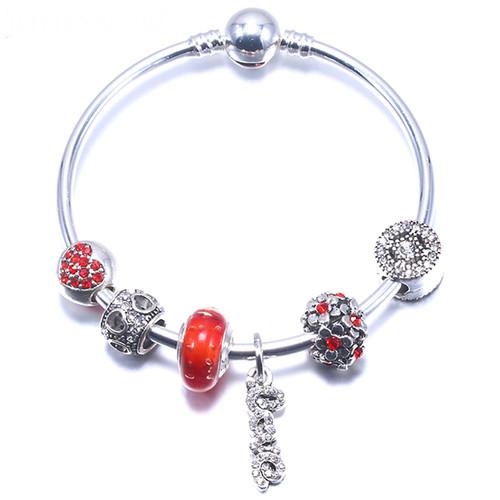 Red Crystal Charm Love Pendants For Women charm bracelet femme Wedding