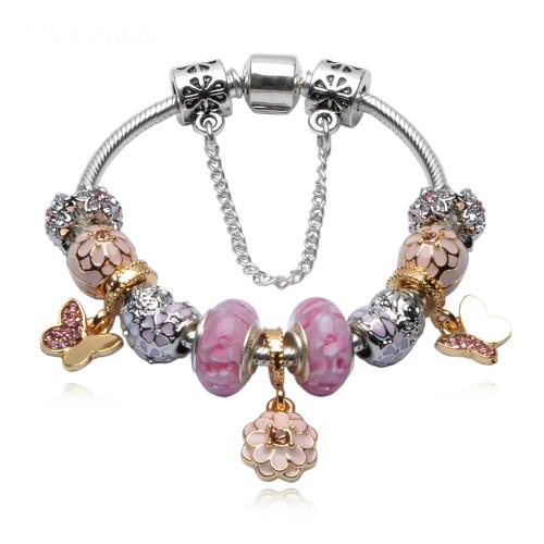 Pink Apple Murano Beads Butterfly Pendant Bracelet Women Silver Plated