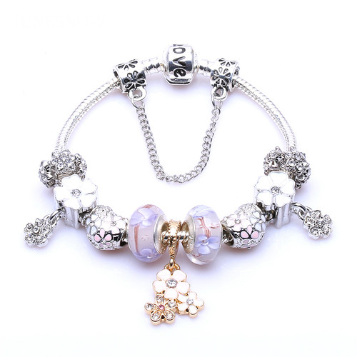 Silver Plated Purple Crystal Beads Flower Pendant DIY Charm Bracelets & Bangles