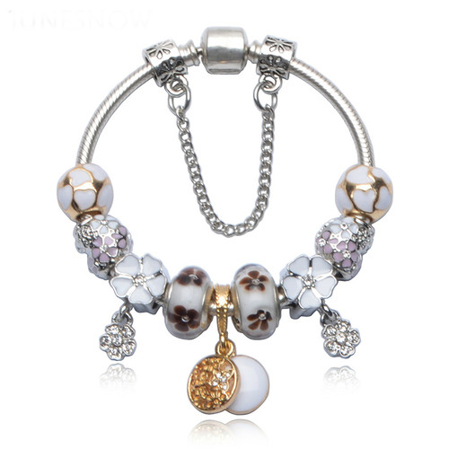 Silver Plated Charm Bracelet & Bangle with Love and Flower Crystal
