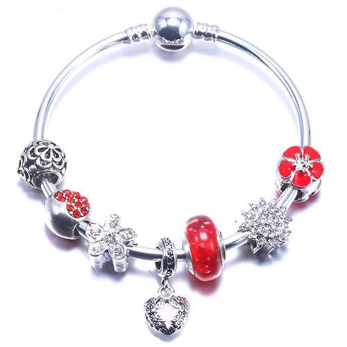 Snake Chain Bracelet Bangle Pink Dangle Bell Heart Charms Bracelets
