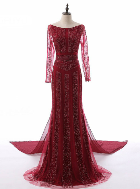 Beading Sequined Vintage Detachable Court Train Women Mother of the Bride Dresses