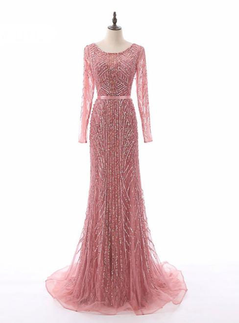 Floor Length Luxury Women Party Dresses Beading Sequined Scoop Full Sleeves