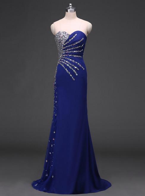 Sweetheart Mermaid Chiffon Beaded Royal Blue Evening Dresses Long 2017