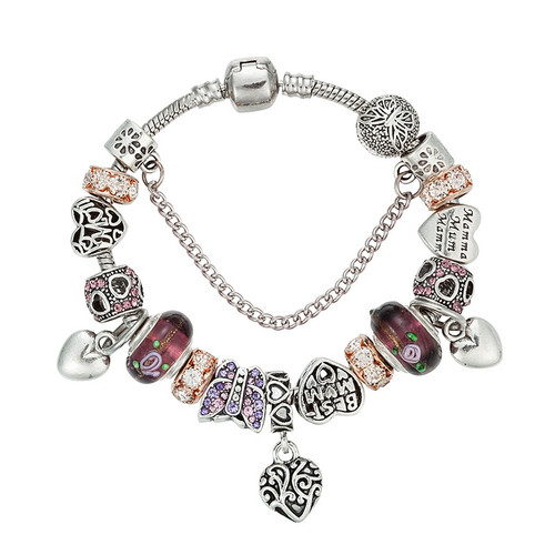 Silver Color Charm Glass Bracelets For Women Crystal Heart Bead Bracelets & Bangles