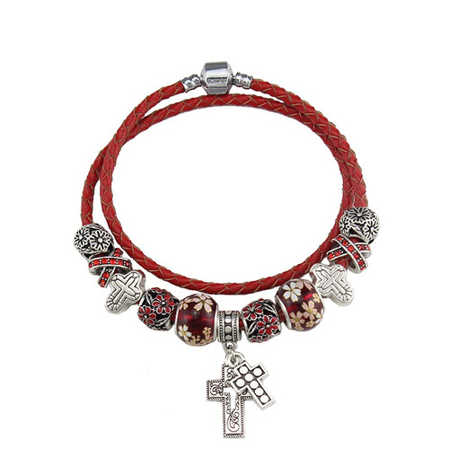 Flower Charm Crystal Beads Leather Bracelet For Women Fashion