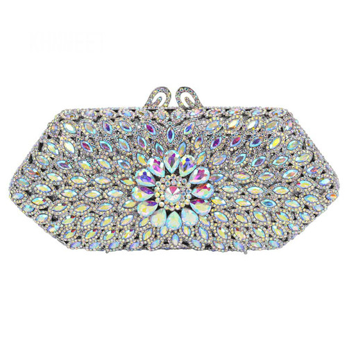 Silver Crystal Clutch Bag Women Party Wedding Bridal Purse
