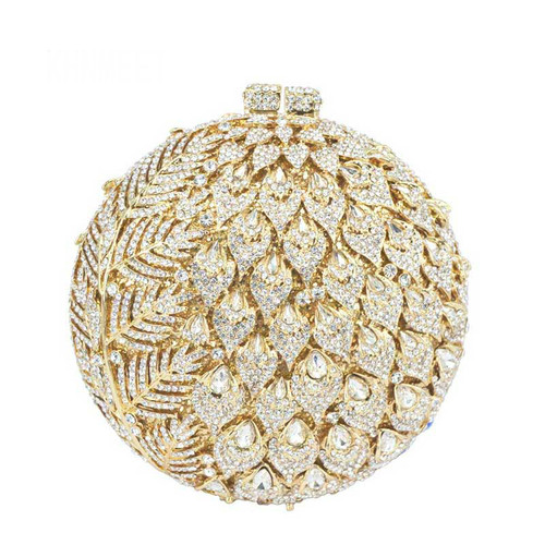 Golden Clutch bags Luxury crystal evening bags soiree pochette ladies party purse