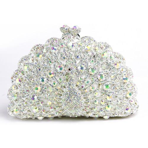 Diamond peacock female hand holding diamond bag