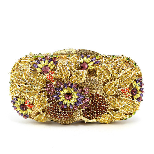 All drill metal hollow diamond flower bag bag