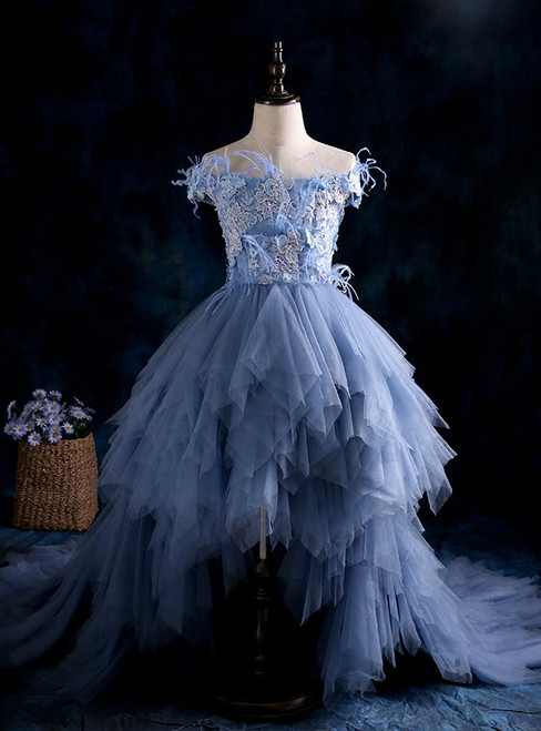 Blue High Low Ball Gown Tulle Appliques Flower Girl Dresses
