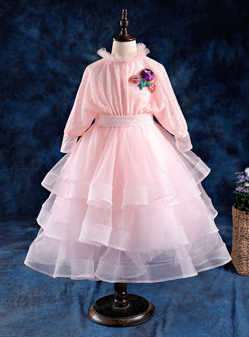 A-Line Pink Tulle Lace High Neck Long Sleeve Flower Girl Dress