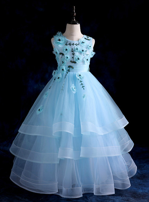 A-Line BlueTulle Long Flower Girl Dress With Appliques