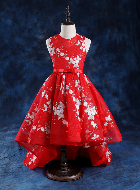 Red Hi Lo Scoop Neck Appliques Flower Girl Dress With Bow