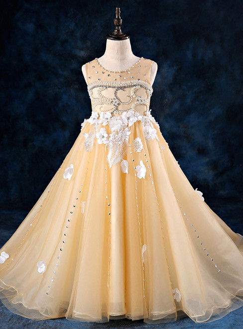 Children Yellow Tulle Appliques Flower Girl Dress With Pearls