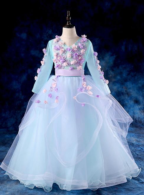 Blue Tulle V-neck Long Sleeve Appliques Flwoer Girl Dress