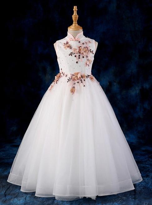 Children Princess White Tulle Appliques High Neck Flower Girl Dress