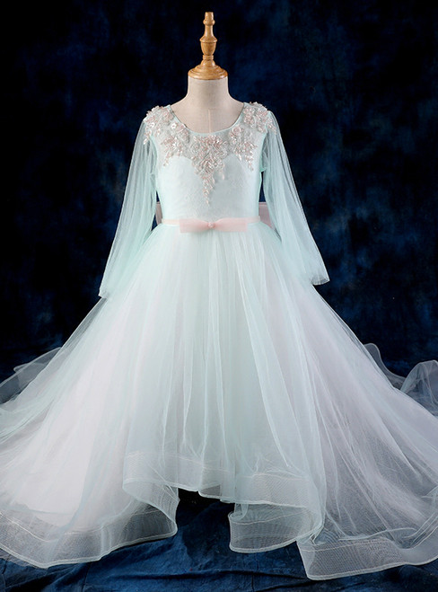 High Low Ball Gown Blue Flower Girl Dresses With Long Sleeve Tulle
