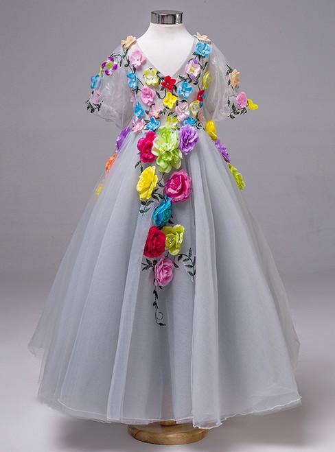 Girls dress Princess Dress Girls skirt sleeve grey Autumn Wedding