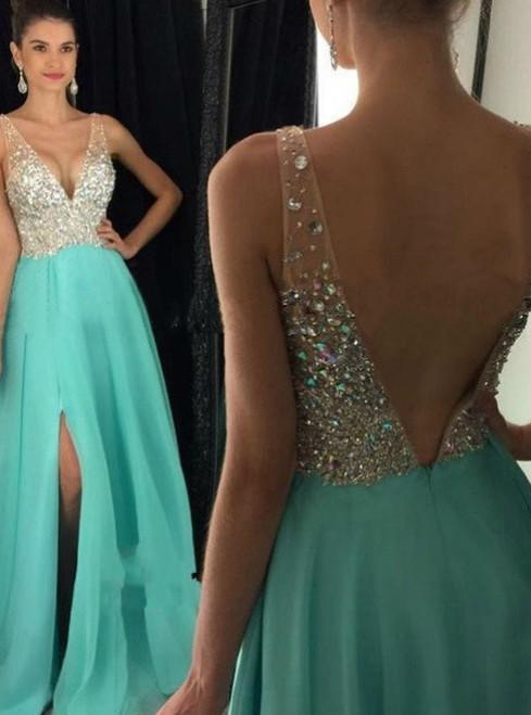 Prom Dresses,Open Back Sparkling Long Prom Dresses