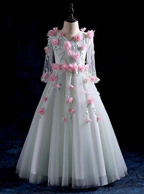 The children were wild flower fairy wedding dress dress with long sleeves