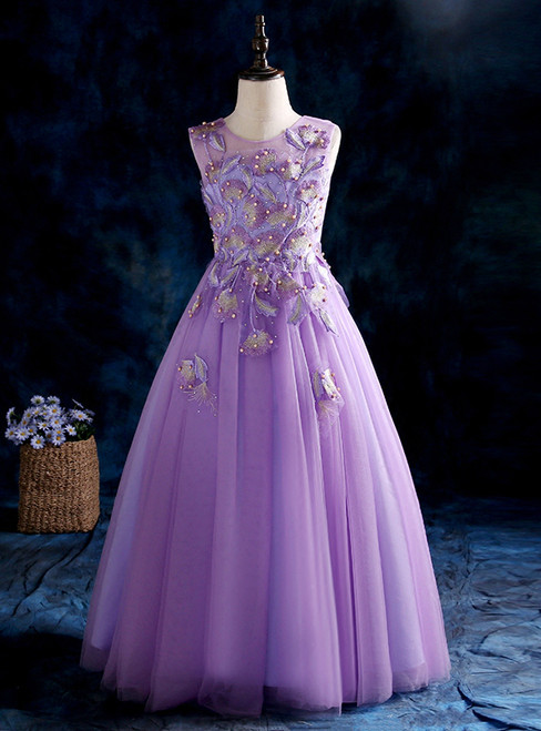 A-Line Purple Tulle Appliques Flower Girl Dress With Pearls